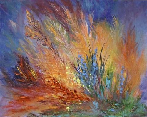 """2109 - SILENT AUCTION - Glow in the Grasses - Essence Painting"" original fine art by Sea Dean"