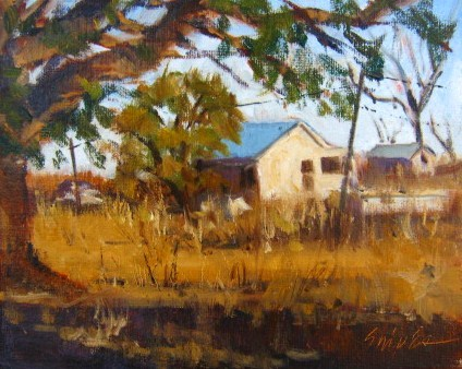 """""""Farm in August"""" original fine art by Connie Snipes"""