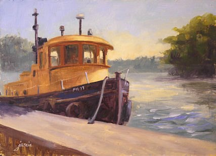 """Tugboat by the Hudson"" original fine art by Jamie Williams Grossman"