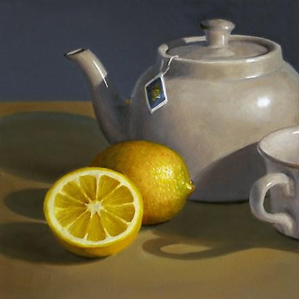 """Lemon with Teapot"" original fine art by Nance Danforth"