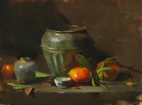 """Tangerines and Bronze"" original fine art by Qiang Huang"