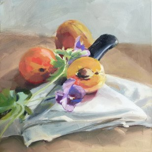 """""""Oil Painting: Three Apricots"""" original fine art by Deb Anderson"""