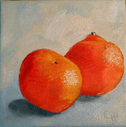 """""""Orange Pair"""" original fine art by Claire Henning"""