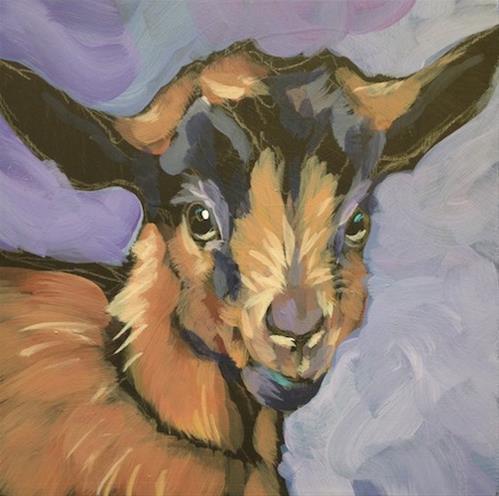 """""""Lavender & Ochre Kid"""" original fine art by Kat Corrigan"""