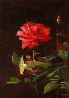 """""""Red Rose Study 1"""" original fine art by Qiang Huang"""