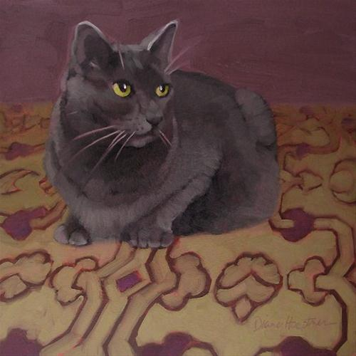 """""""Coco on Purple  gray cat on pattern painting"""" original fine art by Diane Hoeptner"""