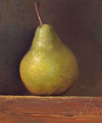"""Bartlett Pear in Late Afternoon Light"" original fine art by Abbey Ryan"