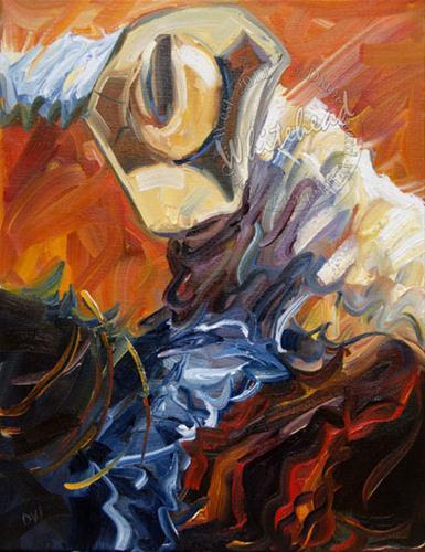 """COWBOY WESTERN ART OIL PAINTING ORIGINAL DIANE WHITEHEAD ARTOUTWEST DAILY PAINTING"" original fine art by Diane Whitehead"