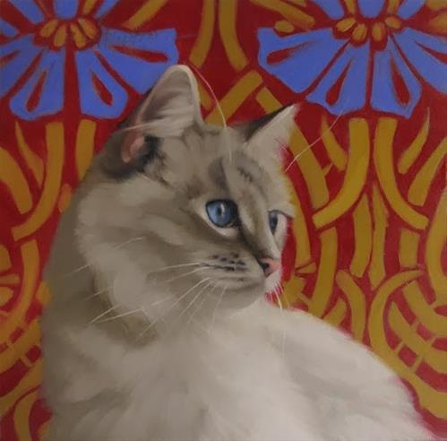 """""""Blue Eyed Cat on art nouveau pattern"""" original fine art by Diane Hoeptner"""