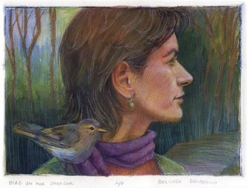 """""""Drypoint Mixed Media: Bird on her shoulder (& a drypoint technique video from Crown Press)"""" original fine art by Belinda Del Pesco"""