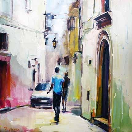 """""""Eine schmale Straße von Bari"""" original fine art by Jurij Frey"""