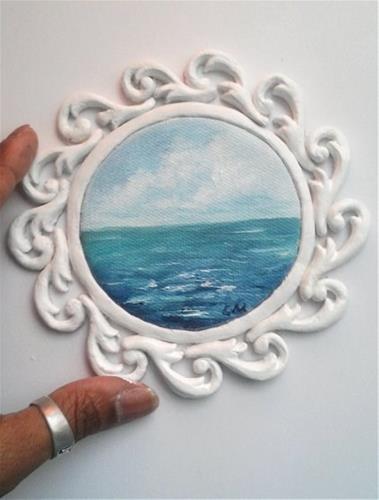 """""""Mini round seascape"""" original fine art by Camille Morgan"""