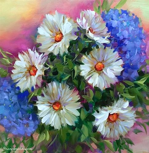 """A Brush With Blue Daisies and Hydrangeas - Nancy Medina Art Classes and Videos"" original fine art by Nancy Medina"