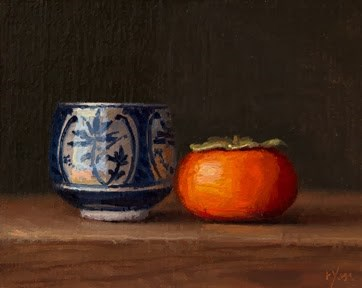 """""""Blue & White Cup with a Persimmon"""" original fine art by Abbey Ryan"""