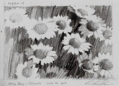 """Sketch 10-Daisy Day"" original fine art by V.... Vaughan"