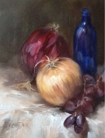 """Red Yellow and Blue, Still Life"" original fine art by Diana Delander"