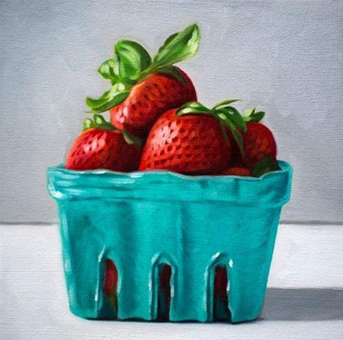 """Carton of Strawberries"" original fine art by Lauren Pretorius"