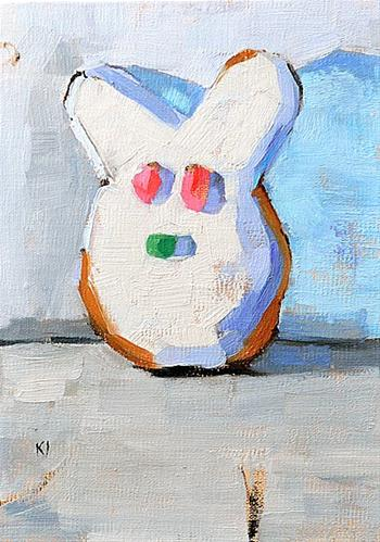 """Easter Bunny Donut Painting"" original fine art by Kevin Inman"
