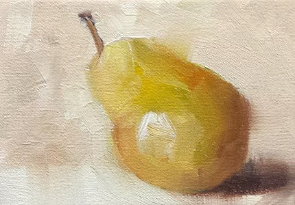 """Mini Leaning Pear"" original fine art by Cindy Haase"