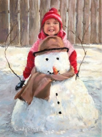 """""""Say Cheese Frosty...Say CHEEZZZZE!"""" original fine art by Cindy Gillett"""