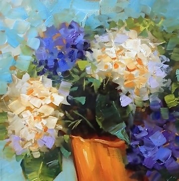 """Color Connection Hydrangeas - Flower Paintings by Nancy Medina"" original fine art by Nancy Medina"
