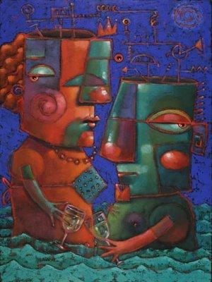 """""""Calvin And Marlene Wet Their Whistle"""" original fine art by Brenda York"""