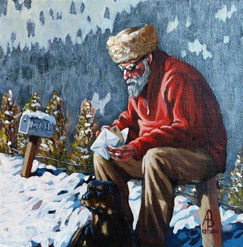 """Checking the mail"" original fine art by Alix Baker PCAFAS AUA"