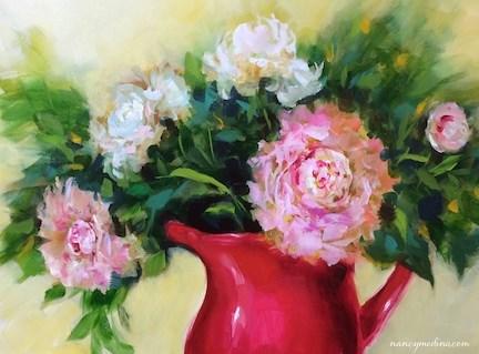 """""""Pink Halo Peonies - Flower Paintings by Nancy Medina"""" original fine art by Nancy Medina"""