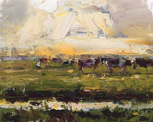 """Landscape Sunset and Cows (sold)"" original fine art by Roos Schuring"