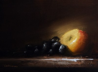 """""""Apple with Grapes"""" original fine art by Neil Carroll"""