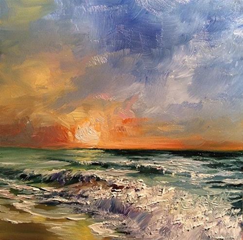 """Wave Study 5, 6 x 6, Oil, Seascape"" original fine art by Donna Pierce-Clark"