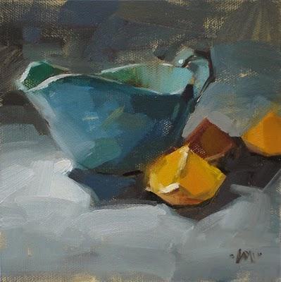 """Side of Orange & new art box"" original fine art by Carol Marine"