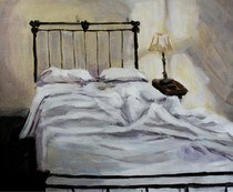 """""""Paint Your Bed"""" original fine art by Maggie Flatley"""