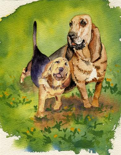 """Debbie's Dogs"" original fine art by Michelle Wolfe"