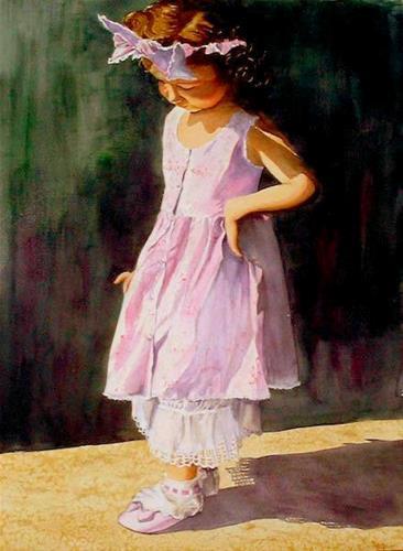 """I Have a Little Shadow, 18x22, Watercolor Painting"" original fine art by Carmen Beecher"