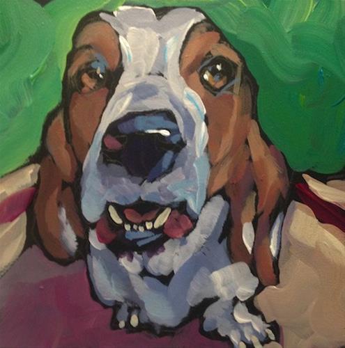 """Powderhorn Basset"" original fine art by Kat Corrigan"