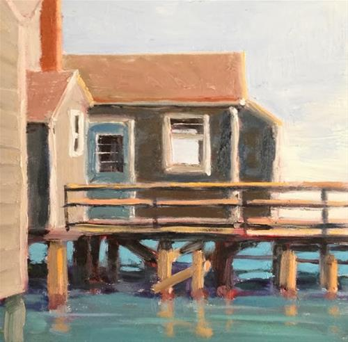 """Coastal Home"" original fine art by Deborah Newman"