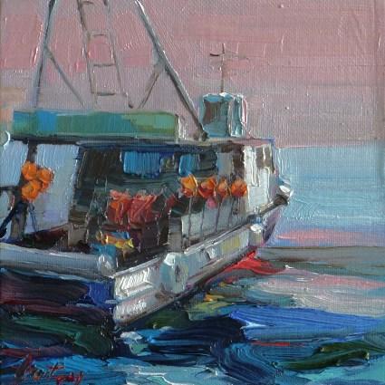 """""""fishing Boat"""" original fine art by Jurij Frey"""