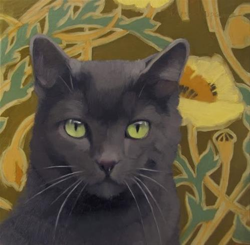 """Poppy Cat painting of gray cat on pattern"" original fine art by Diane Hoeptner"