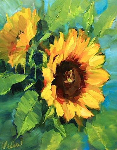 """""""SOLD ~ Warm Thoughts Sunflowers and a Painting Giveaway by Texas Artist Nancy Medina"""" original fine art by Nancy Medina"""