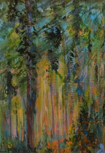"""""""3094 - Matted - DEEP IN THE FOREST - ACEO Series"""" original fine art by Sea Dean"""