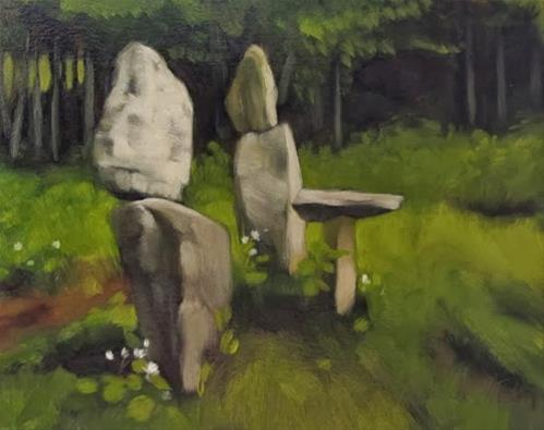"""""""The Family painting of rock sculpture"""" original fine art by Diane Hoeptner"""