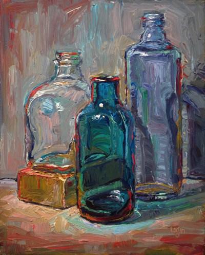 """Three Bottles and Block"" original fine art by Raymond Logan"