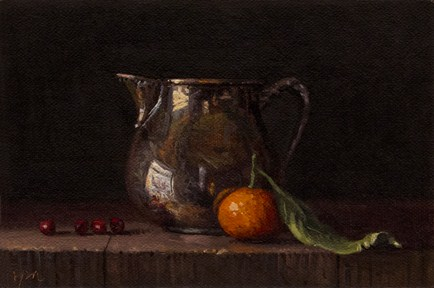 """Still Life with Cranberries, Clementine, & Silver Creamer"" original fine art by Abbey Ryan"