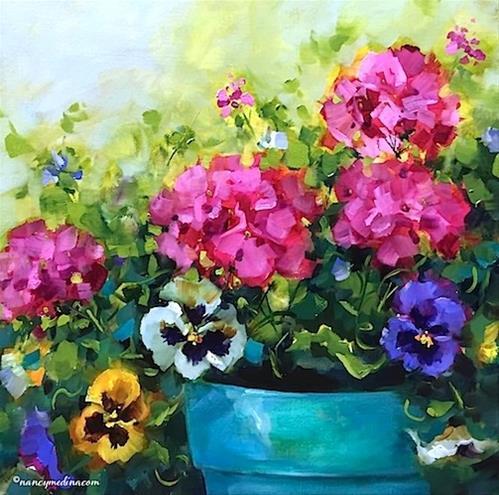 """Garden Remnants Geraniums and Pansies by Nancy Medina"" original fine art by Nancy Medina"