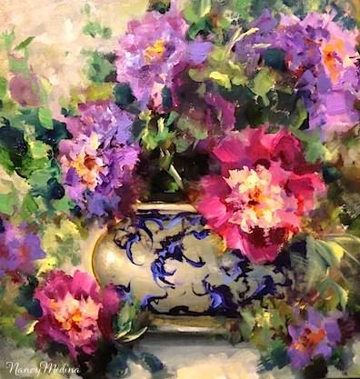 """Peonies From Heaven and a Weekend Celebration by Flower Artist Nancy Medina"" original fine art by Nancy Medina"