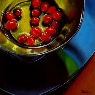 """Blue, Green & Berries II"" original fine art by Jelaine Faunce"