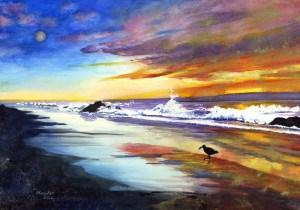 """""""Beach at Sunset"""" original fine art by Mariko Irie"""