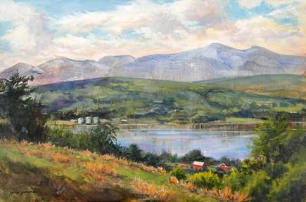 """West Across the Hudson River"" original fine art by Jamie Williams Grossman"