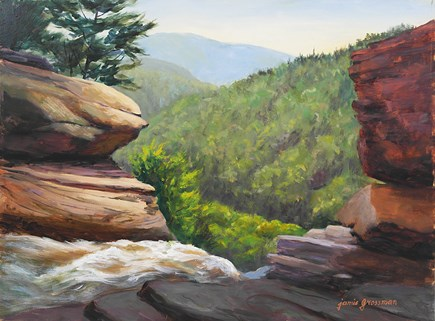 """Boulders Above Kaaterskill Falls"" original fine art by Jamie Williams Grossman"